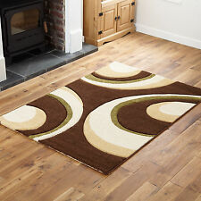 THICK RUGS RUNNERS - BROWN GREEN CREAM SMALL X EXTRA LARGE MODERN 12mm THICK RUG