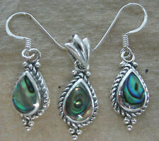 100% 925 STERLING SILVER NZ Paua Shell ABALONE Earrings & Pendant SET