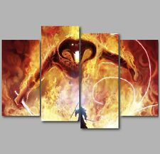XL Lord of the Rings Gandalf Balrog 4 Panel Split Canvas Picture Wall Art