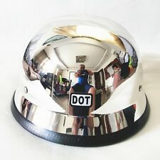 DOT German Novelty Motorcycle Helmet Chrome Half Face  Cruiser MoterBike Chopper