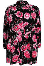 Yoursclothing Plus Size Womens Floral Print Ruched Waist Longline Top