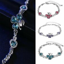 New Women Girl Four Leaf Clover Rhinestone Crystal Bracelet Chain Bangle Jewelry