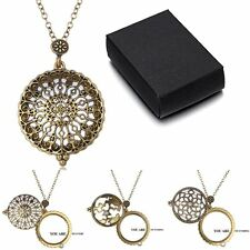 New 5X Magnifying Glass Rhinestone Hollow Design Pendant Necklace Chain Gift+BOX
