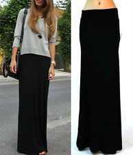 BLACK FOLD OVER WAIST BANDED MINIMALIST JERSEY KNIT LONG MAXI SKIRT S M L XL