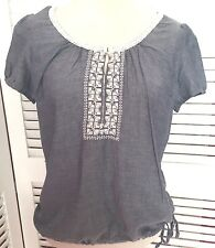 BNWT M&S COLLECTION Feminine Blue Cotton Blouse with Chambray Lace 8 10 12 & 14