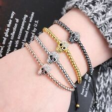 Men Adjustable Ghost Skull Bracelet Stone Braiding NEW Beads Macrame Rope Bangle