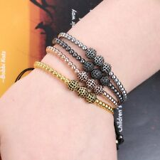 Vintage Adjustable Zircon CZ Beads Macrame Braiding Bracelet Women Men's Bangle