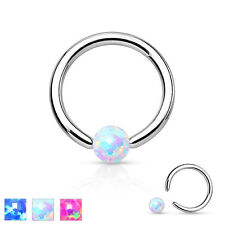 16GA 3mm Ball Synthetic Opal Ball 316L Surgical Steel Captive Bead Ring