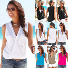 Sexy Women V-neck Summer Casual Vest Tops Sleeveless Blouse Tank Tops T-ShirtDAZ