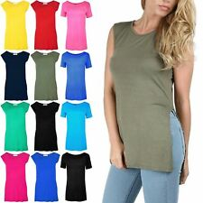 Womens Scoop Neck Sleeveless Ladies Long Stretch Plain Vest Strappy T Shirt Top