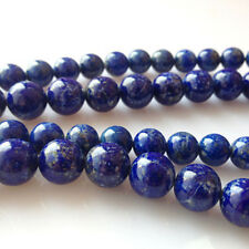 4 6 8 10 12 14 MM Natural Indigo Lapis Lazuli Round Gemstone Loose Beads 15""