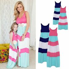 Family Style Mother and daughter dresses Striped Vest matching mom girls Dress