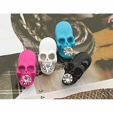 Black White Pink Blue Zombie Skull Emo Punk Rock Fashion Stud Earrings Men Women