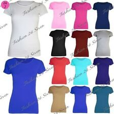 New Womens Ladies Plain Stretchy Jersey Cap Sleeves Cotton Tunic Tee T Shirt Top