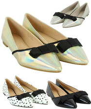 LADIES BALLERINAS DOLLY SHOES SLIP ON FLATS LOAFERS CASUAL PUMPS
