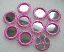 CR127 35mm Pink Gypsy Crochet Shisha Mirrors Applique Sew On Dancewear 10pcs