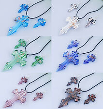 Murano glass cross Necklace and earring set