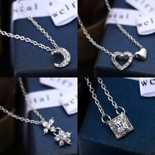 New Crystal Rhinestone Heart Charms Pendant Chain Necklace Lady Wedding Jewelry