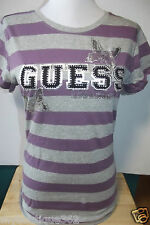 GUESS PURPLE MULTI TEE TOP WITH BOLD GUESS LOGO IN RHINESTONES NEW WITH TAG