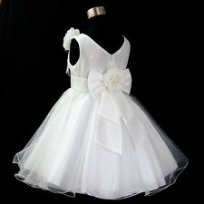W668 White Flower Girl Dresses Girls Bridesmaid Party Wedding Dress Age 1 to 12Y