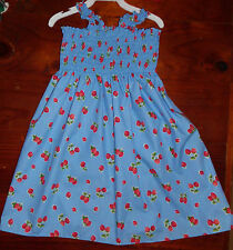 SZ 1 BLUE (choices) COTTON SHIRRED TOP DRESS BRAND NEW HANDMADE IN AUSTRALIA