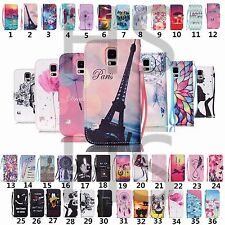 Colorful Pattern Flip PU Leather Wallet Stand Cover Skin Case For Samsung Galaxy