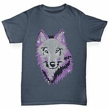 Twisted Envy Boy's Purple Wolf Rhinestone Diamante T-Shirt