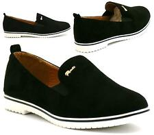 WOMENS LADIES CASUAL FLAT SLIP ON LOAFERS COMFORT BLACK SKATER SHOES SIZE