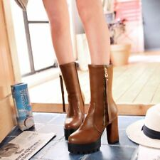Women Block High Heels Mid Calf Boot Leather Motorcycle Riding Platform Shoes SZ