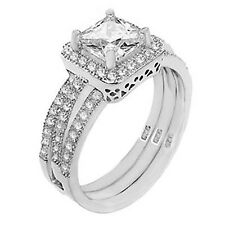 Sterling Silver CZ Princess Cut Womens Engagement Ring Wedding Band Set Size 5-9