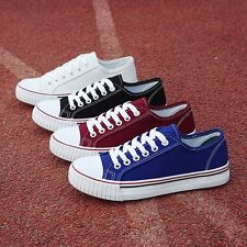 Womens Classic Casual Lace up Canvas Sneakers Low top Students Sport Flats Shoes