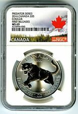 2016 $5 CANADA 1 OZ SILVER COUGAR NGC MS69 FIRST RELEASES PREDATOR SERIES