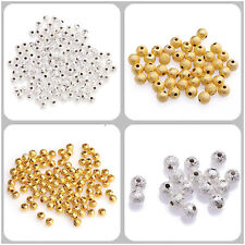100-500pcs 3-10mm Stardust Copper Ball Spacer Beads Jewelry Findings Silver&Gold