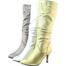 Fashion Sexy Pointy Stiletto Knee High Heel Formal Work Interview Boot Shoes