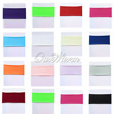 50PCS Chair Cover Bands Spandex Stretch Chair Sash Bow Wedding Dinner Decor NEW