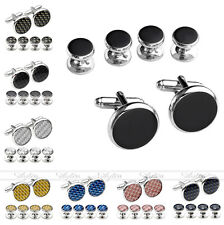 6pc Men Steel Luxurious Tuxedo Shirts Carbon Fiber Cufflinks Set Tux Cuff Studs