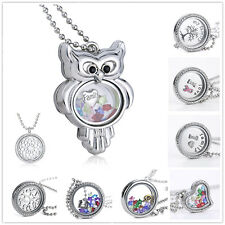 Newest Living Memory Floating Glass Flower Locket Crystal Charm Necklace Pendant