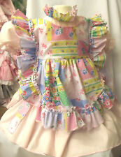 DREAM GIRLS ROMANY PINK DRESS AND PATCHWORK APRON ALL SIZES  AVAILABLE