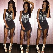 Sexy Women Black Mesh Tassel Backless Bandage Bodycon Club Evening Party Dress