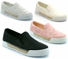 NEW LADIES SLIP ON FLAT STRETCH SKATER TRAINERS SNEAKERS PLIMSOLLS PUMPS SHOES