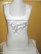 GUESS WHITE TANK TOP WITH GUESS SILVER STUDS LOGO new nwt basic tee