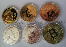 Nice 6Pcs Bitcoin BTC Physical Collectible Gold Silver Plated Copper Brass Coins