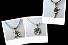 Elf Mermaid- Fairy Moon OR Fairy ~45-50cm Leatherette Necklace~Silver Tone Charm