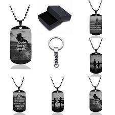Men Women Stainless Steel Black Dog Tag Bead Pendant Necklace+Key Chain+Box Gift