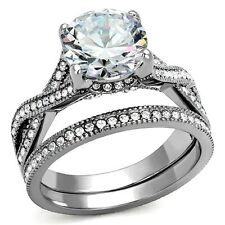 Womens Wedding Rings Stainless Steel Engagement Ring cz Bridal Set Size 5 -10