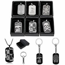 Military Men's Plain Dog Tag Stainless Steel Pendant Chain Necklace Halloween