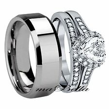 Classy 3Pcs His Tungsten Hers Stainless Steel Wedding Engagement Ring Band Set