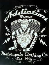 Addiction Brand Womens T Shirt Tee Loud Pipes Save Lives Tattoo Biker Motorcycle