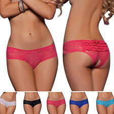 Women Newly Popular  Sexy Bowknot Lace Briefs Translucent Open Crotch Underwear