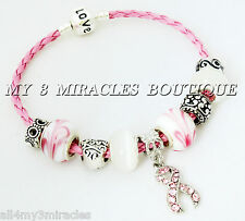 Pink Ribbon Charm Bracelet Braided Leather BREAST CANCER Survivor Mother's Day